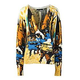 Women's Fashion Navy Printing V-Neck Slim Cardigan Knit Sweater