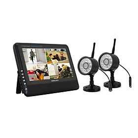 "NEW Wireless 4CH Quad DVR 2 Cameras with 7"" TFT-LCD Monitor"