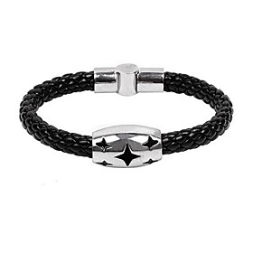 Men's Titanium Full Star Snakeskin Leather Weave Bangle