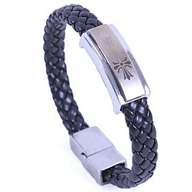 Unisex's Titanium Serpentine Leather Braided Bangle