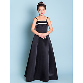 Lanting Bride Floor-length Satin Junior Bridesmaid Dress A-line / Princess Spaghetti Straps Natural with