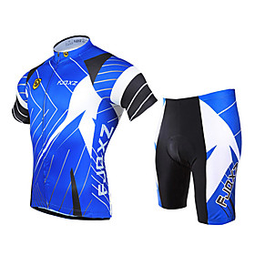 FJQXZ Cycling Jersey with Shorts Men's Short Sleeves Bike Clothing Suits Quick Dry Ultraviolet Resistant Front Zipper Breathable 3D Pad 1833946
