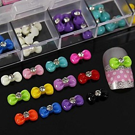100PCS Mix Color Resin Bowtie With Rhinestone Accessories Not Include Box 3D Nail Art Decoration
