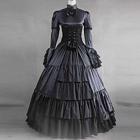 Long Sleeve Floor-length Black Satin and Cotton Aristocrat Steampunk Steampunk Dress