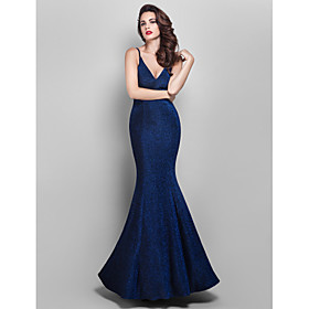 TS Couture Prom / Formal Evening / Military Ball Dress - Elegant / Vintage Inspired Plus Size / Petite Trumpet / Mermaid V-neck Floor-length Jersey plus size,  plus size fashion plus size appare