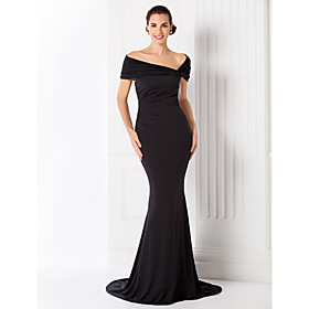 TS Couture Formal Evening / Black Tie Gala Dress - Elegant / Vintage Inspired Plus Size / Petite Trumpet / Mermaid Off-the-shoulderSweep / Brush plus size,  plus size fashion plus size appare