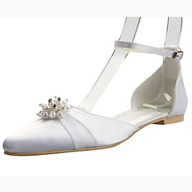 Elegant Satin Flat Heel Flats with Imitation Pearl Wedding Shoes(More Colors)