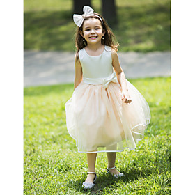 Ball Gown Knee Length Flower Girl Dress - Chiffon Sleeveless Halter with Bow(s)