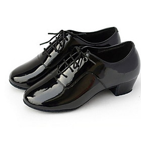 Non Customizable Men's Dance Shoes Modern/Ballroom Leatherette Low Heel Black