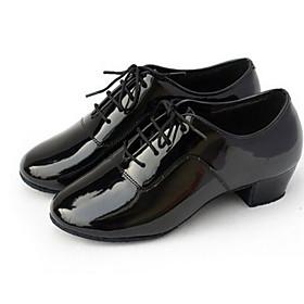 Non Customizable Men's Dance Shoes Modern/Ballroom Leatherette Low Heel Black