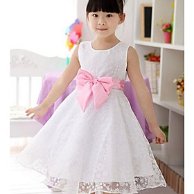 Girl's White Flower Print Organza Big Swing Bow Tie Wedding Pageant Bridesmaid Princess Dresses