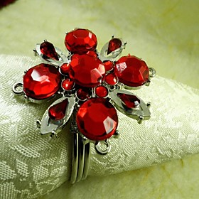 Red Crystal Flower Napkin Ring, Acrylic Beades, 4.5CM, Set of 12,