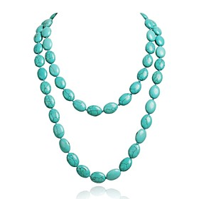 Women's Beads Turquoise Fashion Luxury Cluster Chain Round Necklace