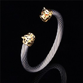 U7 New Cool Lion Head Cuff Bangle 18K Gold Plated Titanium Steel Lieopard Br..