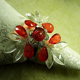 Crystal Heart Crystal Flower In Multi Color Napkin Ring, Acrylic Beades, 4.5CM, Set of 12,