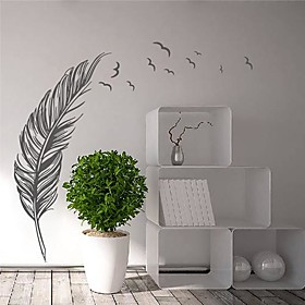 Wall Stickers Modern Feather with Flying Birds Landscape PVC Decorative Wall Decals