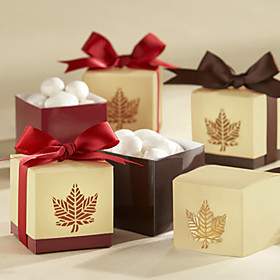 "Autumn Elegance"" Laser Cut Fall Leaf Favor Box (Set of 12)"