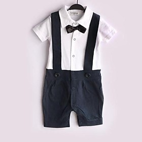 Boy Children's Baby Black Bow Gentleman Suspender Boy Grow Short Sleeved Jumpsuits