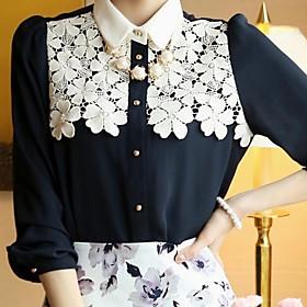 Women's New Fashion Office Lady Style Lace Chiffon Shirt