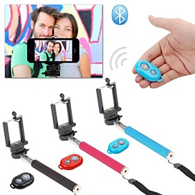 Extendable Self Handheld Monopod Wireless Bluetooth Remote Shutter Control for IOS Android Phones