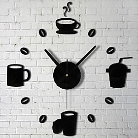 Wall Clock Stickers Wall Decals, Bar Coffee Cup 3D Acrylic Wall Stickers