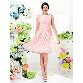A-Line Jewel Neck Knee Length Georgette Bridesmaid Dress with Criss Cross by LAN TING BRIDE plus size,  plus size fashion plus size appare