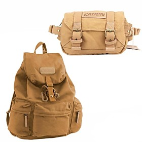 Canvas Backpack SLR DSLR Digital Camera Gadget Organizer Bag Compact Camera Waist Bag - Khaki