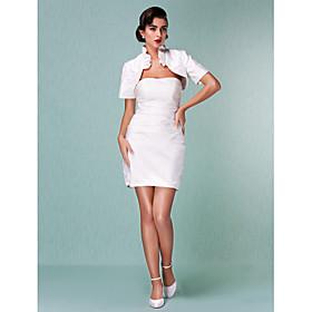 Sheath / Column Strapless Short / Mini Taffeta Wedding Dress with Ruche Ruffle by LAN TING BRIDE plus size,  plus size fashion plus size appare