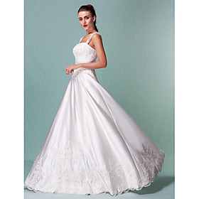 Lanting Bride A-line Petite / Plus Sizes Wedding Dress - Classic Timeless Vintage Inspired Floor-length Square Satin withAppliques / plus size,  plus size fashion plus size appare