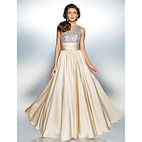 TS Couture Prom / Formal Evening / Military Ball Dress - Elegant / Sparkle  Shine Plus Size / Petite Sheath / Column One Shoulder Floor-length Satin