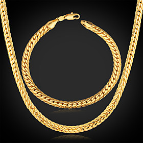 Men's Chunky 18K Gold Plated Jewelry Set (Necklace  Bracelet)
