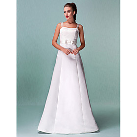 A-Line Straps Floor Length Satin Custom Wedding Dresses with Sash / Ribbon by LAN TING BRIDE plus size,  plus size fashion plus size appare