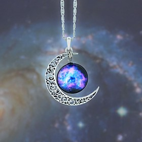 Women's Opal Engraved Pendant Necklace Long Necklace Moon Galaxy Crescent Moon Ladies European Fashion Blue Red / White Rainbow Necklace Jewelry 1pc For Party