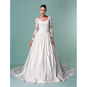 Lanting Bride Ball Gown Petite / Plus Sizes Wedding Dress - Classic Timeless / Elegant Luxurious Vintage Inspired Chapel Train V-neck plus size,  plus size fashion plus size appare