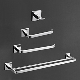 Contemporary Brass Chrome Finish Bathroom Accessory Sets, 4-Piece Bath Collection Set 553610