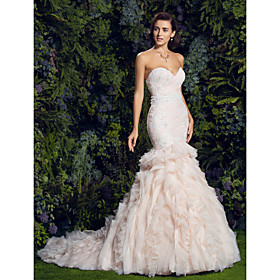 Mermaid / Trumpet Sweetheart Court Train Lace Tulle Wedding Dress with Appliques Cascading Ruffle Cascading Ruffles by LAN TING BRIDE