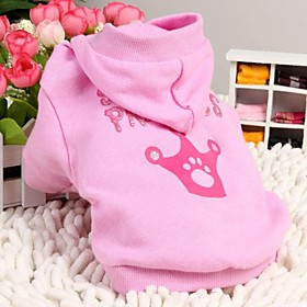 Cotton Spolied Princess Pattern Hoodie for Pet Dogs(Pink,Assorted Sizes)