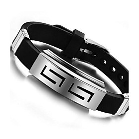 Men's ID Bracelet Personalized Unique Design Silicone Titanium Steel Jewelry..