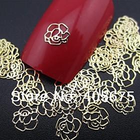 50PCS Rose Shape Slice Metal Nail Art Decoration