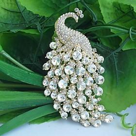 Women's Vintage Alloy Clear Rhinestone Crystal Peacock Bridal Brooch Wedding..