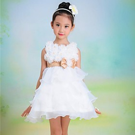 Girl's White Flower Bow Cake Tutu Princess Lovely Bridesmaids Wedding Dresses