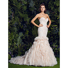 Mermaid / Trumpet Sweetheart Court Train Lace Tulle Wedding Dress with Sequin Appliques Cascading Ruffles by LAN TING BRIDE