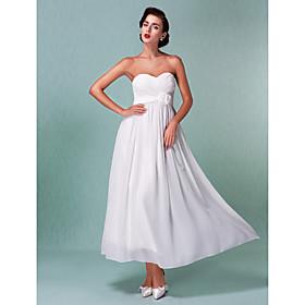 Sheath / Column Sweetheart Ankle Length Chiffon Wedding Dress with Sash / Ribbon Criss-Cross Flower by LAN TING BRIDE plus size,  plus size fashion plus size appare