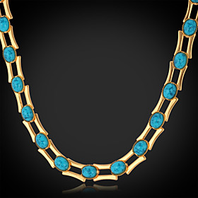 U7Turquoise Stone Necklace Chain 18K Real Gold Platinum Plated Turkey Stone Exquisite Jewelry Gift for Women