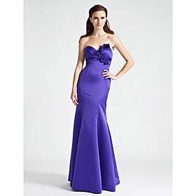Mermaid / Trumpet Strapless Sweetheart Floor Length Satin Bridesmaid Dress with Flower(s) Side Draping by LAN TING BRIDE plus size,  plus size fashion plus size appare