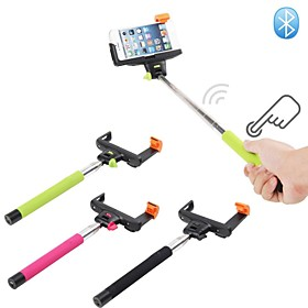 Extendable Handheld Wireless Bluetooth Shutter Selfie Monopod Stick Holder for IOS and Android Mobile Phone Black