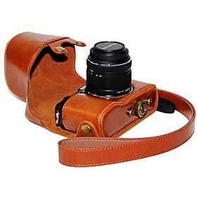 pelle dengpin fotocamera protettivo della copertura del sacchetto caso con la pelle olio di tracolla per Olympus PEN E-p5 obiettivo 14-42 mm