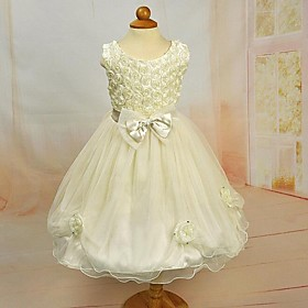 Girl's Light Yellow Flower Bow Tulle Party Dress Wedding Pageant Bridesmaid Princess Dresses