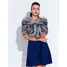 Faux Fur WeddingSpecial Occasion Shawl $25.99 AT vintagedancer.com