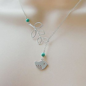 Women's Simple Leaves Bird Turquoise Necklace